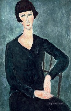 modigliani - woman sitting in blue dress Amedeo Modigliani