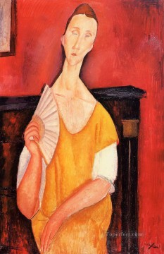 woman with a fan lunia czechowska 1919 Amedeo Modigliani Oil Paintings