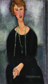 woman with a green necklace madame menier 1918 Amedeo Modigliani Oil Paintings