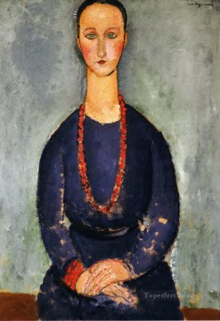 1918 Painting - woman with a red necklace 1918 Amedeo Modigliani