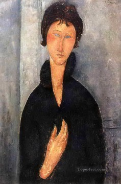 1918 Painting - woman with blue eyes 1918 Amedeo Modigliani