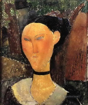 woman with velvet ribbon the black border 1915 Amedeo Modigliani Oil Paintings