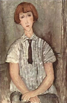 1917 Canvas - young girl in a striped shirt 1917 Amedeo Modigliani