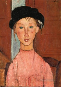 1918 Painting - young girl in beret 1918 Amedeo Modigliani