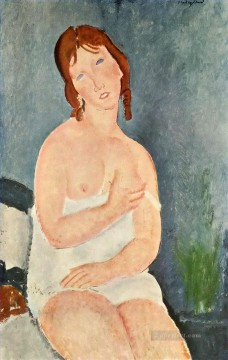 Amedeo Oil Painting - young woman in a shirt the little milkmaid Amedeo Modigliani