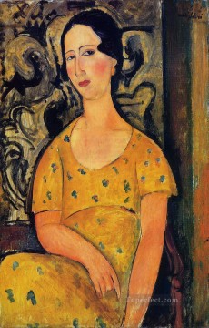 1918 Painting - young woman in a yellow dress madame modot 1918 Amedeo Modigliani