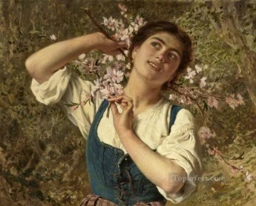 Capri Girl with Flowers Sophie Gengembre Anderson Oil Paintings