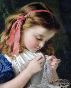 Sophie Painting - Little girl crocheting Sophie Gengembre Anderson