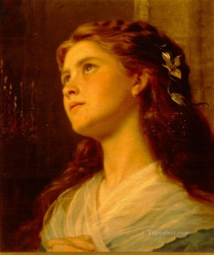 Girl Works - Portrait Of Young Girl genre Sophie Gengembre Anderson