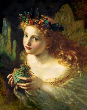 on canvas - Take the fair face of Woman genre Sophie Gengembre Anderson