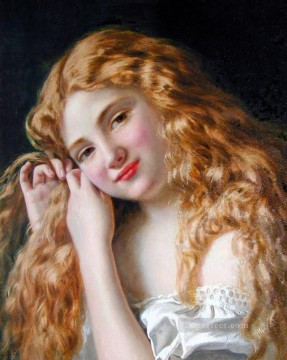on canvas - Young Girl Fixing Her Hair genre Sophie Gengembre Anderson