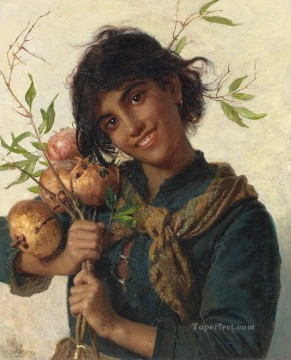 sophie oil painting - young girl with pomegranates Sophie Gengembre Anderson