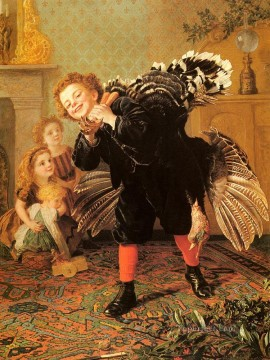 Christmas Time Heres The Gobbler genre Sophie Gengembre Anderson Oil Paintings