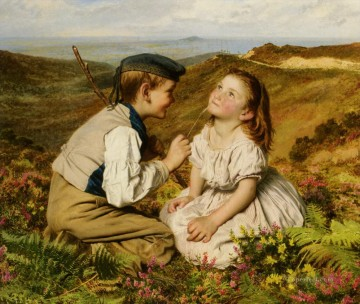 Sophie Gengembre Anderson Painting - Its Touch and Go to Laugh or No Sophie Gengembre Anderson