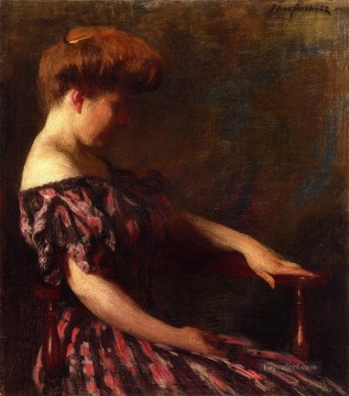 Red Art - A Flowered Gown naturalistic Thomas Pollock Anshutz