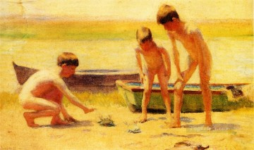 boat art painting - Boys Playing with Crabs boat Thomas Pollock Anshutz