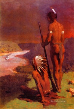Anshutz Canvas - Indians on the Ohio naturalistic Thomas Pollock Anshutz