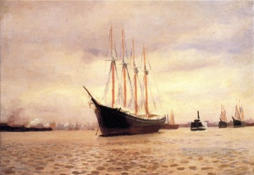 seascape Canvas - On the Delaware at Tacony naturalistic seascape Thomas Pollock Anshutz