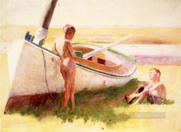 Boat Painting - Two Boys by a Boat naturalistic Thomas Pollock Anshutz