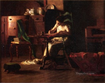 Woman Painting - Woman Writing at a Table naturalistic Thomas Pollock Anshutz