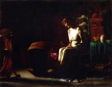 st Oil Painting - Woman in a Rocking Chair naturalistic Thomas Pollock Anshutz