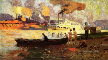 Pollock Canvas - Steamboat on the Ohio Thomas Pollock Anshutz