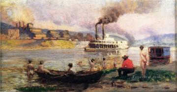Steamboat on the Ohio2 Thomas Pollock Anshutz Oil Paintings