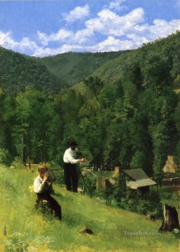 Anshutz Canvas - The Farmer and His Son at Harvesting naturalistic Thomas Pollock Anshutz