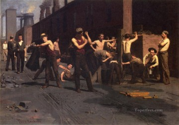 Pollock Canvas - The Ironworkers Noontime naturalistic Thomas Pollock Anshutz