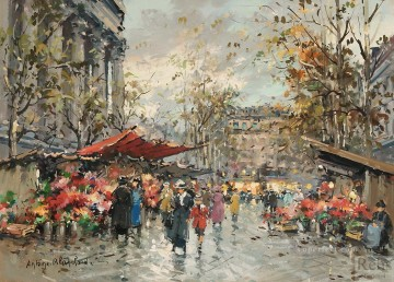 Made Oil Painting - antoine blanchard flower market madeleine 2