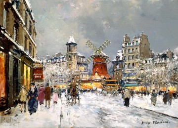 Antoine Blanchard Painting - antoine blanchard moulin rouge a pigalle sous la neige