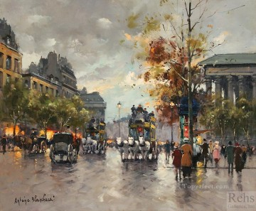 Made Oil Painting - antoine blanchard omnibus on the place de la madeleine