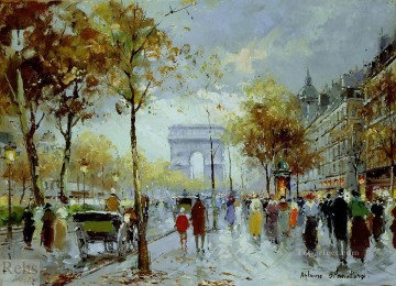 Paris Painting - antoine blanchard paris les champs elysees