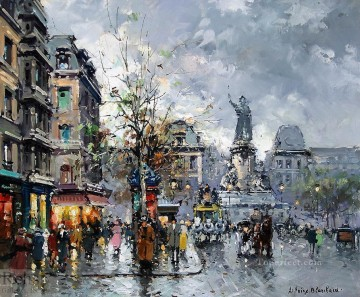 antoine blanchard place de la republic 3 Oil Paintings