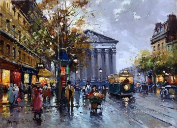 Made Oil Painting - antoine blanchard rue royal madeleine 2