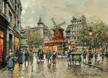 Antoine Blanchard Painting - antoine blanchard le moulin rouge place blanche a montmartre