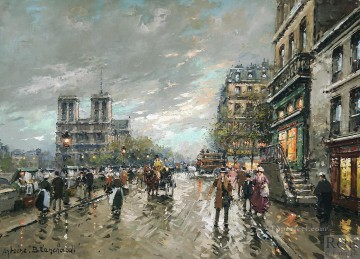 antoine blanchard notre dame quai saint michel 1 Oil Paintings