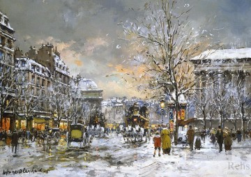 Made Oil Painting - antoine blanchard omnibus on the place de la madeleine winter