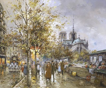 Paris Painting - antoine blanchard paris la cathedrale notre dame