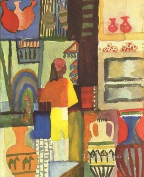Dealer With Pitchers August Macke Oil Paintings