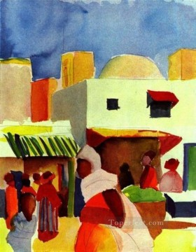 Market In Algier August Macke Oil Paintings