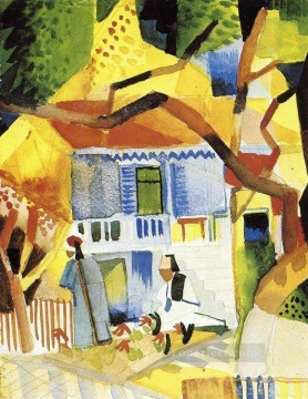Courtyard of a Villa at St Germain August Macke Oil Paintings