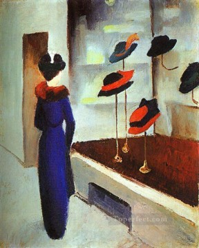 Milliners Shop Hut laden August Macke Oil Paintings