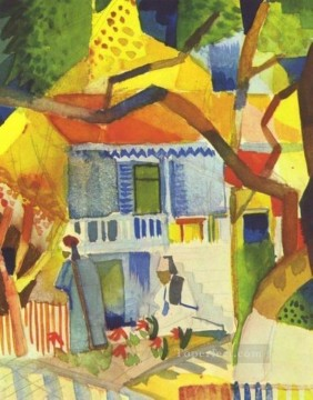 Patio Of The Country House In St Germain August Macke Oil Paintings