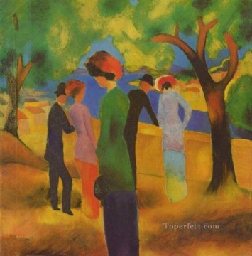 A Woman In Green Jacket August Macke Oil Paintings