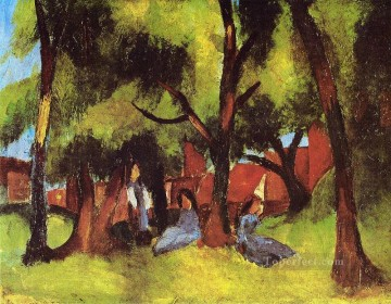 Children under Trees in Sun August Macke Oil Paintings