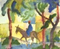 Donkey Horse man August Macke