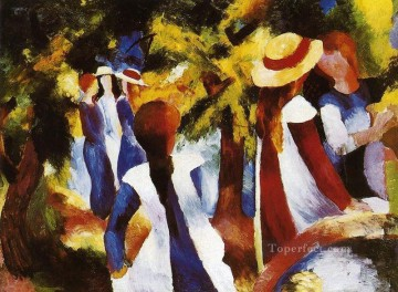 Girls Canvas - Girls In The Forest August Macke