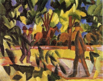 Riders and Strollers in the Avenue August Macke Oil Paintings