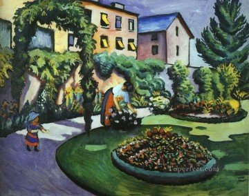 The Mackes Garden at Bonn August Macke Oil Paintings
